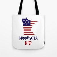 minnesota Tote Bags featuring Minnesota Kid by raineon