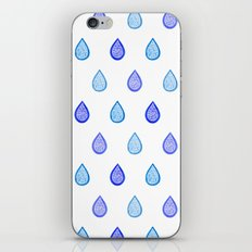 Blue raindrops iPhone & iPod Skin