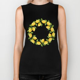 Watercolor Lemons Biker Tank