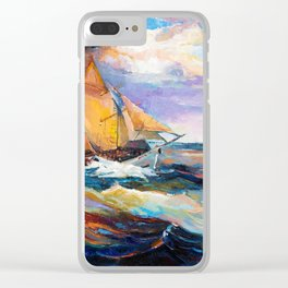 Fishing boats in the sea at sunset Clear iPhone Case