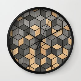 Concrete and wood cubes Wall Clock