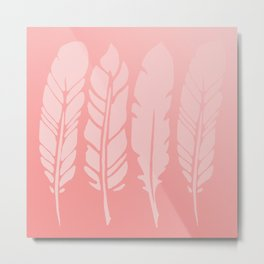 Rose Quartz Feathers in Ombre Metal Print