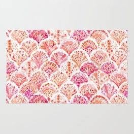 CORAL CAMO Mermaid Watercolor Fish Scales Rug