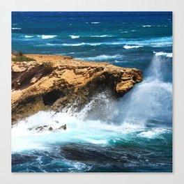 Wild Rogue Ocean Waves Crashing On Rocks Canvas Print