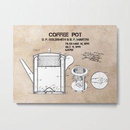 Coffee pot Goldsmith Martyn patent art 1899 Metal Print