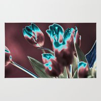 popart Area & Throw Rugs featuring TULIPS - BROWN-BLUE - Popart by CAPTAINSILVA