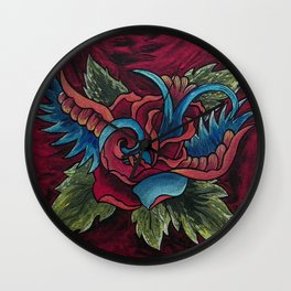 Sparrow Rose Wall Clock