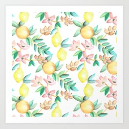 Flowers and Fruits Art Print