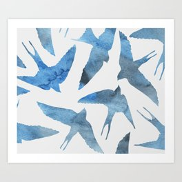 Watercolor birds - sapphire ink Art Print