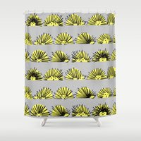 hedgehog Shower Curtains featuring Hedgehog by Kari Smith Designs