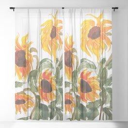 sunflower watewrcolor 2018 Sheer Curtain