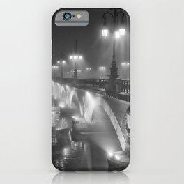 Paris, Bridge over the River Seine nighttime black and white photograph iPhone Case