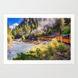 Durango Mountain Train Along the Colorado Animas River Art Print