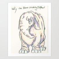 Wally the elephant Art Print