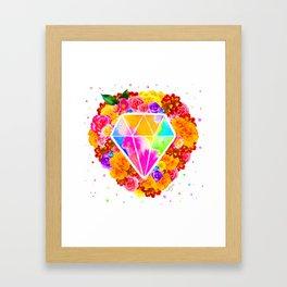 Flowered Diamond Framed Art Print