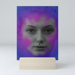 Pink and blue portrait Mini Art Print