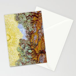 Olive Trees with Yellow Sky and Sun by Vincent van Gogh Stationery Cards
