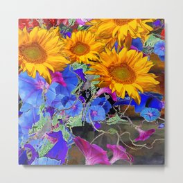 LARGE YELLOW SUNFLOWERS & BLUE MORNING GLORIES FLORAL Metal Print