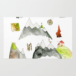 Watercolor Hills for Hikers and Nature lovers Rug