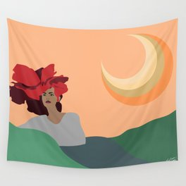 Woman with Floral Hat and Sunset Minimal Art Wall Tapestry