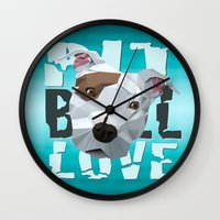pit bull Wall Clocks featuring Pit Bull by Benjamin Ring