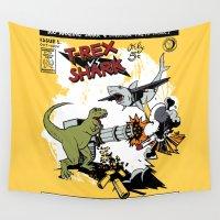 t rex Wall Tapestries featuring T-Rex VS Shark  by Katie Badenhorst