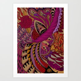 Ornate pattern- coloured Art Print