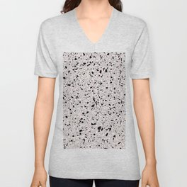 'Speckle Party' Pink Black White Dots Speckle Terrazzo Pattern Unisex V-Neck