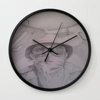 fear and loathing Wall Clocks featuring Fear and Loathing with Dr. Gonzo  by Steve Cook
