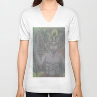 baphomet V-neck T-shirts featuring BAPHOMET by Kathead Tarot/David Rivera
