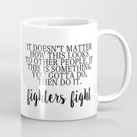 foo fighters Mugs featuring Fighters Fight by MisfitIsle
