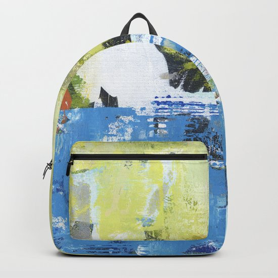 Parakeet Blue Yellow Abstract Art Backpack