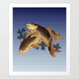 Hokusai – two carps -葛飾 北斎,engraving,carpa, fish. Art Print