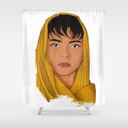 The Girl with the Yellow Scarf - Mona Lala Shower Curtain