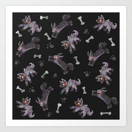 Poochyena & Mightyena pattern Art Print
