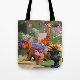 Animals in the Garden: The giraffe, hippo, and hedgehog Tote Bag