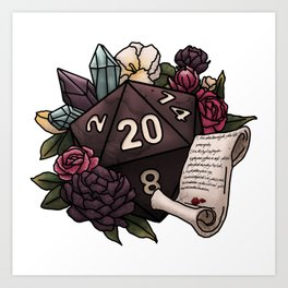 Warlock Class D20 - Tabletop Gaming Dice Art Print