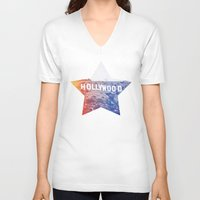 hollywood V-neck T-shirts featuring Hollywood by Laura Ruth