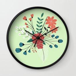 Mint-Flower Arrangement Wall Clock