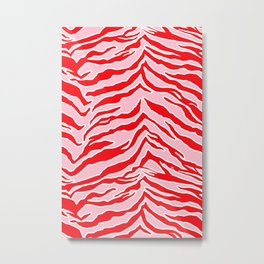 Tiger Print - Red and Pink Metal Print
