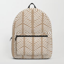Hand Drawn Sketched Chevrons on Tan Backpack