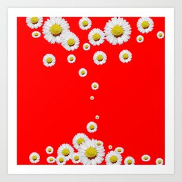 CHINESE RED WHITE DAISIES MODERN ART Art Print