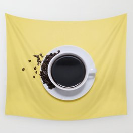 Black Cup of Coffee with Coffee Beans on Yellow Wall Tapestry