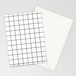 Grid Pattern Stripes Lines Black and White Minimalist Geometric Stripe Line Stationery Cards