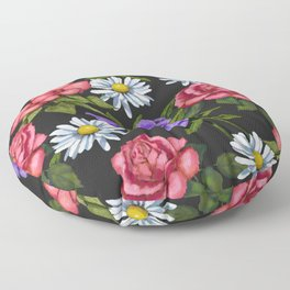 Flowers on Black Background, Original Art Floor Pillow