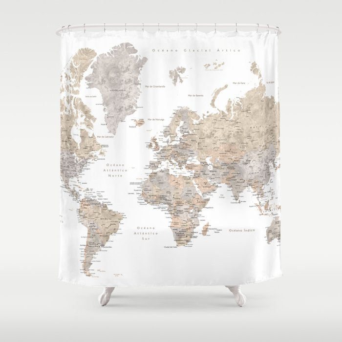World map in spanish, taupe and light brown watercolor Shower ...