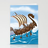 vikings Stationery Cards featuring The Vikings by Nick's Emporium Gallery
