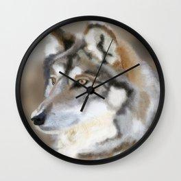 Grey Wolf Portrait Wall Clock