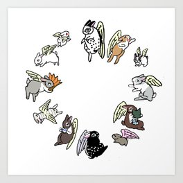 All Angel Rabbits of round Art Print