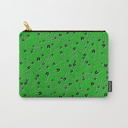 Green safety pins punk rock pattern. Carry-All Pouch
